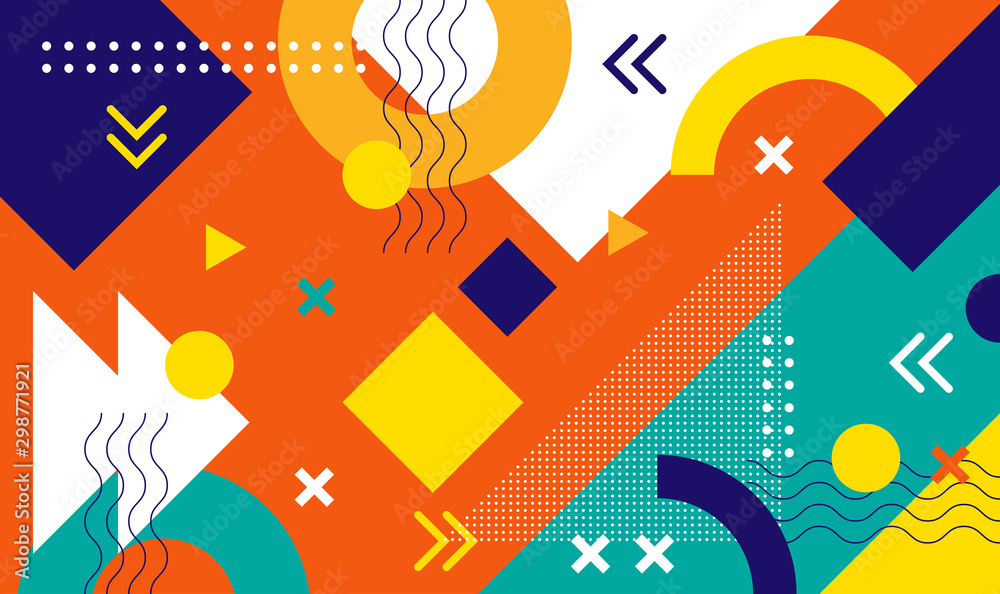 Fototapeta Mega set of memphis design elements, template for your project. Big colorful vector collection