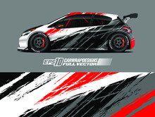 Car Wrap Decal Designs. Abstract Racing And Sport Background For Racing Livery Or Daily Use Car Vinyl Sticker. Vector Eps 10.