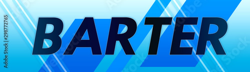 Photo Barter - clear black text typography isolated on blue background