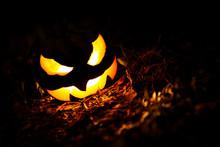Halloween Pumpkin Jack O Lantern Glowing At Night