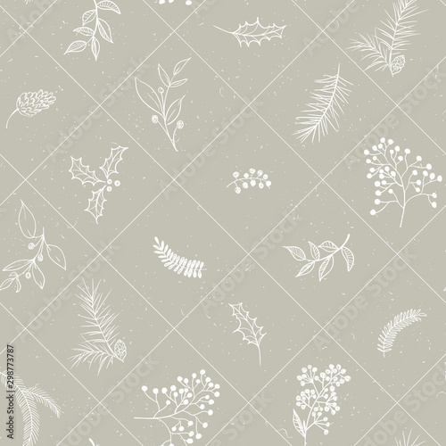 Tapety Beżowe seamless-floral-christmas-pattern-with-square-lined-white-tree-branches-fir-cones-berries-leaves-on-beige-background-graphic-illustration