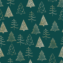 Seamless Christmas Pattern With Gold Trees, Firs, Spruce On Green Background. Graphic Illustration. Forest Scene.