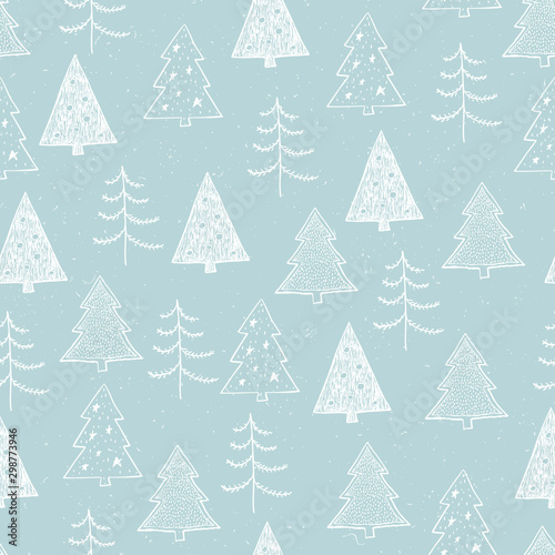 Foto auf Leinwand Licht blau Seamless Christmas pattern with white trees, firs, spruce on blue background. Graphic illustration. Forest scene.