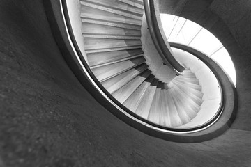 Modern spiral staircase. Contemporary architecture abstarct background