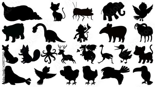 Fotografie, Obraz  Set of sihouette isolated objects theme - animals