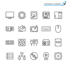 Computer Parts Line Icons. Editable Stroke. Pixel Perfect.