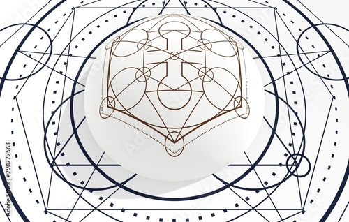 Autocollant pour porte Style Boho Mystical geometry symbol. Linear alchemy, occult, philosophical sign. For music album cover, poster, sacramental design. Astrology and religion concept. 3d rendering