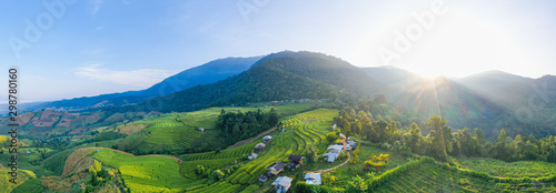 Garden Poster Rice fields Aerial view morning scene of Pa Bong Piang beautiful terraced rice fields, Mae Chaem, Chiang Mai Thailand