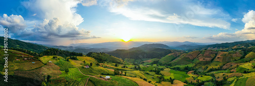 Canvas Prints Blue sky Panorama Aerial View sunlight at twilight of Pa Bong Piang terraced rice fields, Mae Chaem, Chiang Mai Thailand
