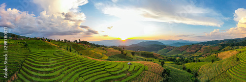 Wall Murals Rice fields Panorama Aerial view Sunset scene of Pa Bong Piang terraced rice fields, Mae Chaem, Chiang Mai Thailand