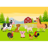Cartoon farm animals in the farming background