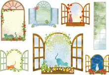 窓:窓枠 窓格子 フレーム 飾り枠 枠 水彩 猫 かわいい 植物 クローバー 木々 風景 夜空 景色
