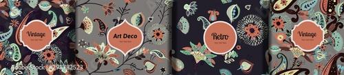 Cuadros en Lienzo  Set of seamless floral patterns