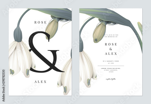 Photo Minimalist floral wedding invitation card template design, snowdrop flowers with