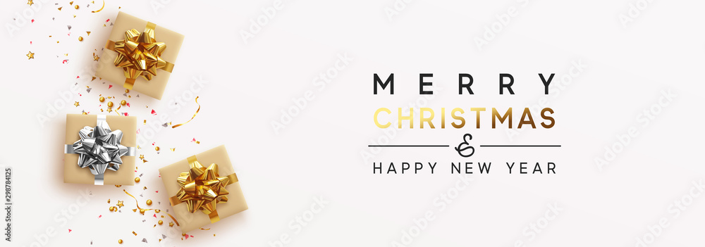 Fototapeta Banner Merry Christmas and Happy New Year. Realistic brown and white gift boxes, Shiny golden confetti. Festive background Greeting card, poster. Xmas present. flat lay, top view. Vector illustration