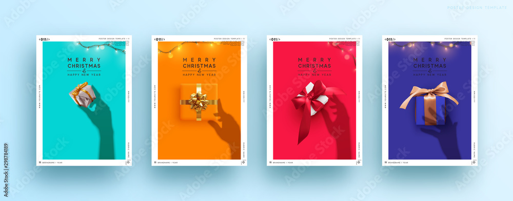 Fototapety, obrazy: Set Christmas and New Year covers, posters greeting card. Holiday Xmas background with presents, sparkle garland. Female Silhouette shadow from the hands holds. Creative holiday banner with gift box