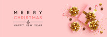 Banner Merry Christmas And Happy New Year. Realistic Pink Gift Boxes, Glitter Gold Confetti, Chocolate Round Candy In Foil, Sweet Cane. Xmas Present. Flat Lay, Top View. Vector Illustration
