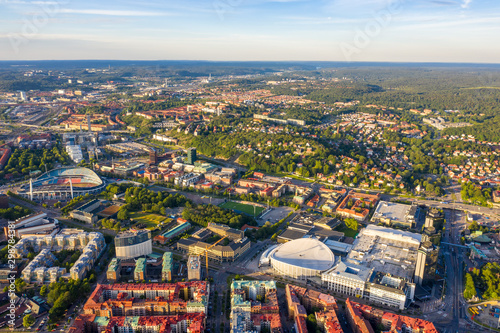 Gothenburg, Sweden. Panoramic aerial view of the city center in the evening. Sunset #298784381