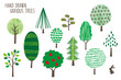 Hand drawn various Trees -summer-