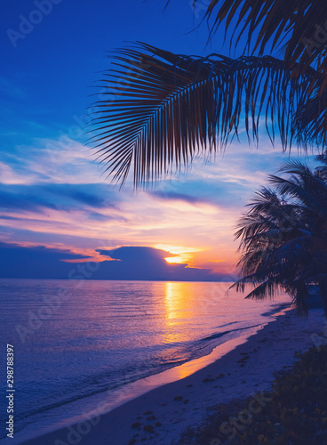 Foto-Schiebegardine Komplettsystem - Bright colorful sunset on the shore of a tropical sea, silhouettes of palm trees against the sky, tropical paradise