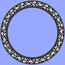Vintage Round Frame With Black & White Tulips. Art Nouveau Style. Vector.