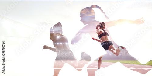 Athlete woman on white. Mixed media - 298790764
