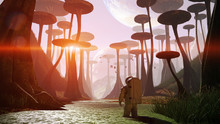 Astronaut Exploring Alien Planet Landscape, Journey To An Exoplanet With Strange Plants And Flying Creatures