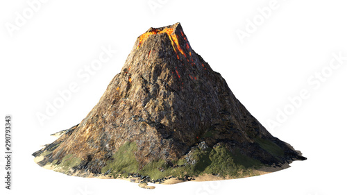 Obraz na plátně  volcanic eruption, lava coming down a volcano, isolated on white background