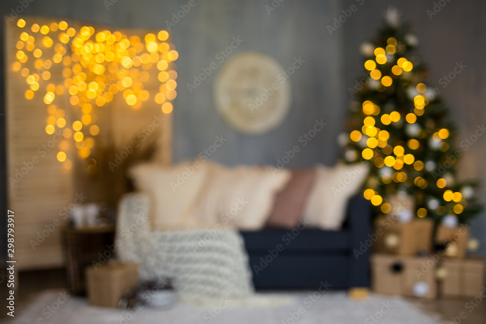 Fototapety, obrazy: Christmas background - blurred living room with Christmas tree, gifts and garlands