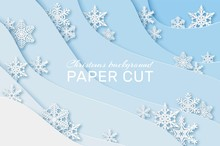 Paper Snowflakes Background. Christmas Card With Snowflakes, New Year Holidays Greeting Card 3d Origami Party Poster, Vector Concept