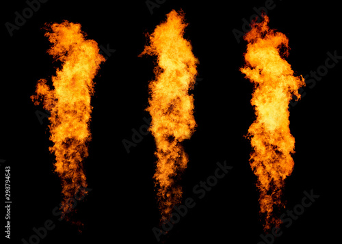 Photo Set of three fire jets isolated on black, flame collection