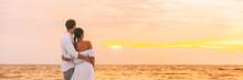 Honeymoon Couple Walking On Ro...