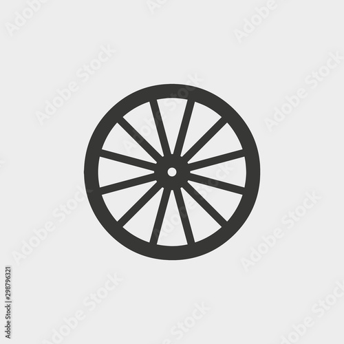 Fotografía  wooden wheel icon. vector illustration