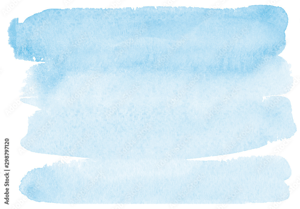 Fototapety, obrazy: light romantic delicate blue background painted with watercolor on white paper