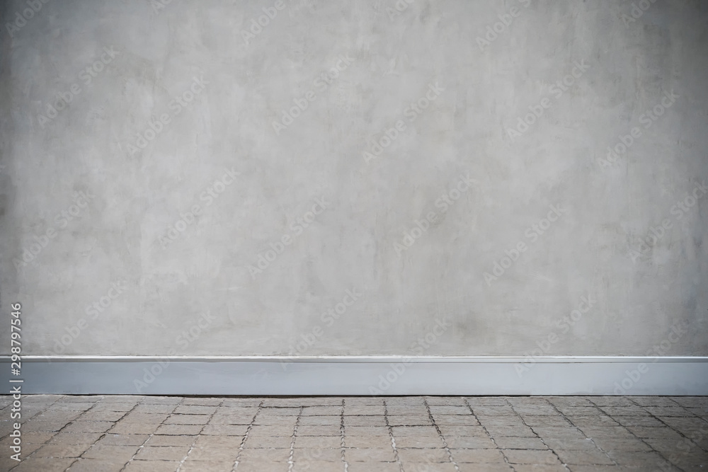 Fototapety, obrazy: Gray concrete wall with grunge and floor. Empty room for backdrop or background.