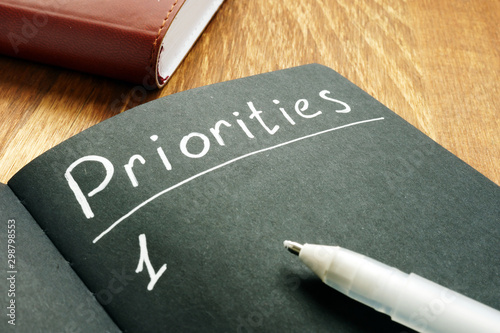 Fotografie, Obraz  Priorities list in the black notepad.