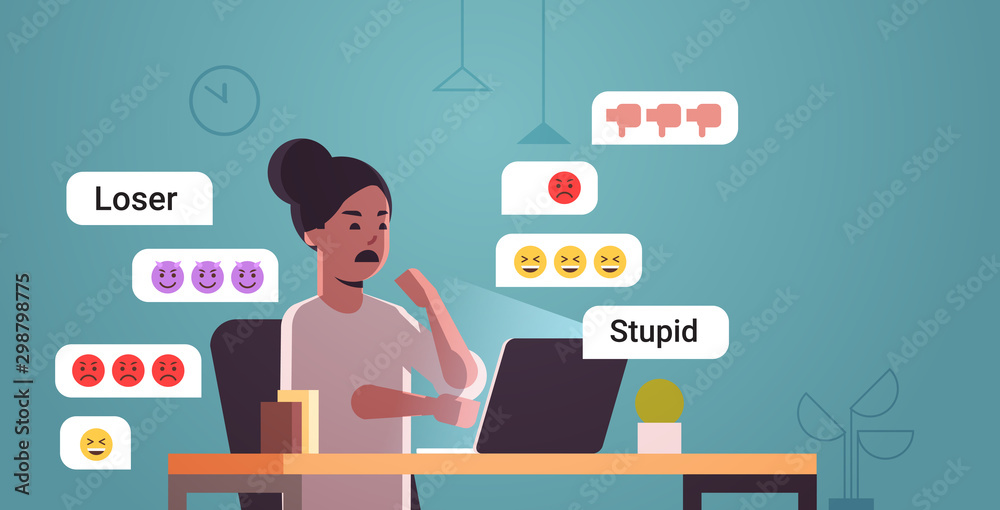 Fototapety, obrazy: girl being bullied woman using online application reading insulting messages social media harassment trolling cyber bullying concept full length flat horizontal vector illustration