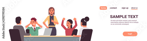 Obraz angry businesspeople arguing during meeting business people having problem working in team together conflict concept businesswoman screaming at employees portrait horizontal copy space vector - fototapety do salonu
