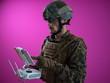 canvas print picture - soldier drone technician