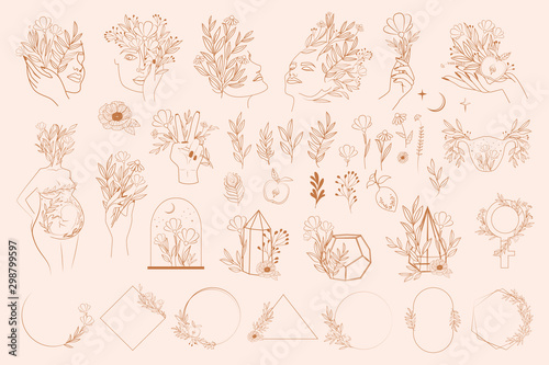 Set of abstract leaf and flower elements, hands and girl portrait in one line style Fototapete