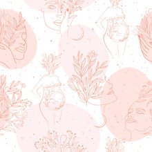 Seamless Pattern With Leaf And Flower Elements, Girl Portrait And Silhouette Of A Pregnant Woman In One Line Style. Editable Vector Illustration