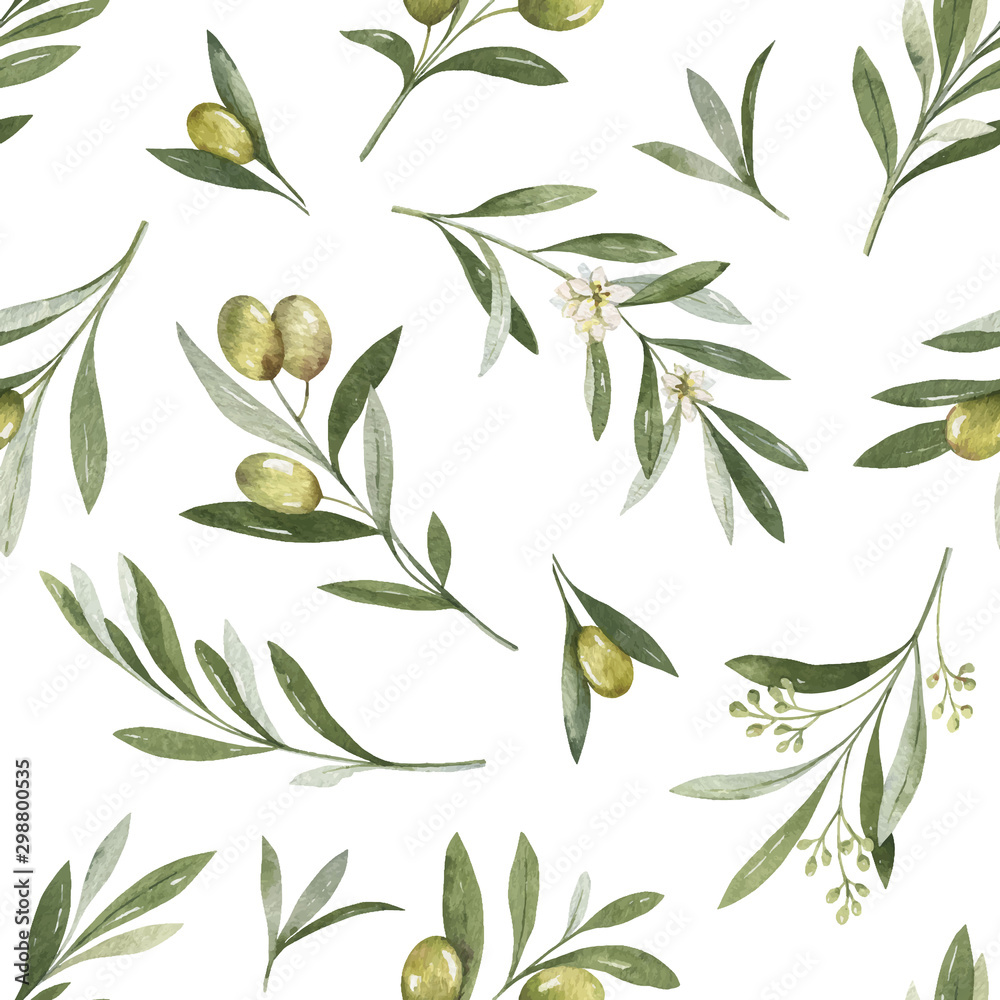 Fototapeta Watercolor vector seamless pattern of olive branches and leaves.