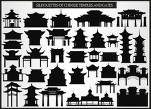 Set Of Silhouetted Chinese Bui...
