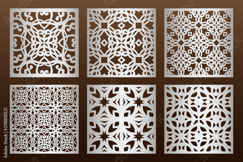 Fototapeta Laser cut panel set in arabic style, cabinet fretwork perforated screen templates
