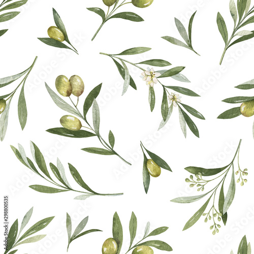 Fototapeta Watercolor vector seamless pattern of olive branches and leaves. obraz