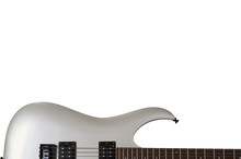 Closeup Of White Electric Six String Guitar Black Pickups And Control Knobs Isolated On White Background. Isolated On White Background