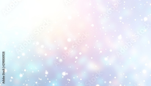 Snow fall on white blue pink ombre background. Magical winter sky blurred texture. Wonderful defocused abstract illustration. Christmas holiday magical backdrop. Bright shine shimmer pattern.
