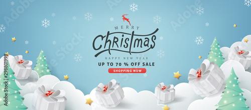 Fototapeta Merry christmas sale banner background.Merry Christmas text Calligraphic Lettering Vector illustration. obraz