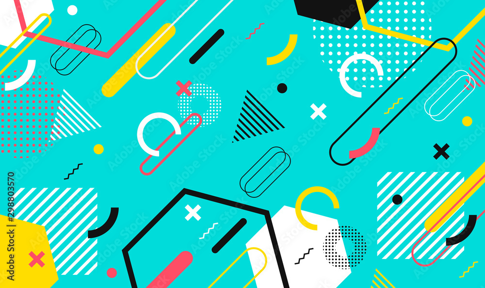Fototapety, obrazy: Mega set of memphis design elements, template for your project. Big colorful vector collection