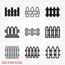 Fence Icon, Modern Minimal Fla...